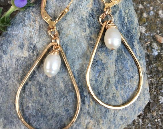 Hammered Gold Filled Teardrop Pearl Earrings