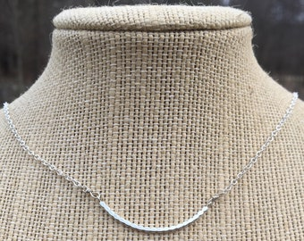 Curved Sterling Silver Bar Necklace Adjustable