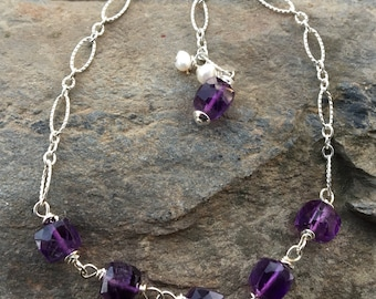 Adjustable Sterling Amethyst Bracelet