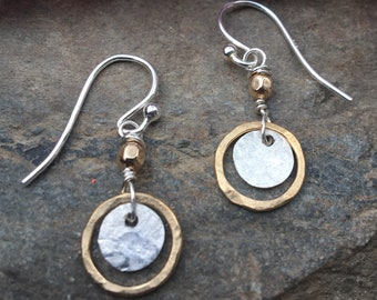 Tiny sterling gold dangles, hammered circle earrings, petite disc, everyday two tone jewelry, leverback, lever back drop. hatchback