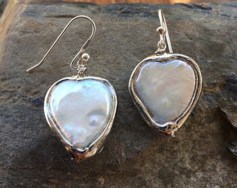Large Heart Freshwater Pearl Earrings, Sterling Ear Wires, Silver Heart Earrings, Pearl Heart Earrings