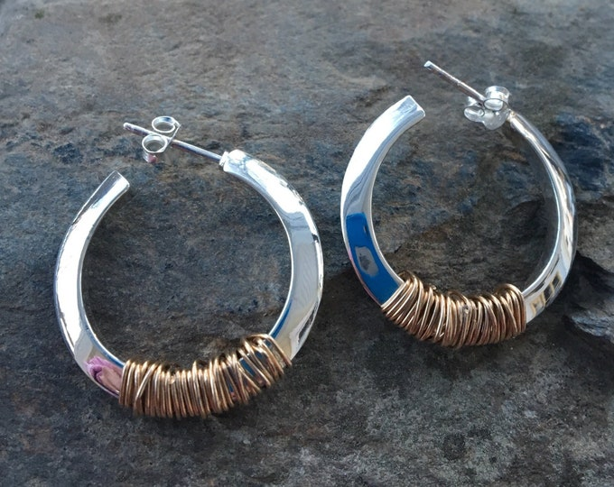 Featured listing image: Two tone Sterling Mixed Metal Chunky Hoops