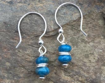 Blue Earrings, Crazy Lace Agate Earrings, Aqua earrings, Sterling Silver Blue Drop Earrings, Leverback, Lever back, Blue Gemstone