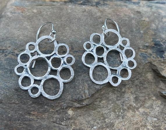 Hammered Silver Circles Earrings, Sterling Freeform Earrings, Funky Sterling Earrings, Leverbacks