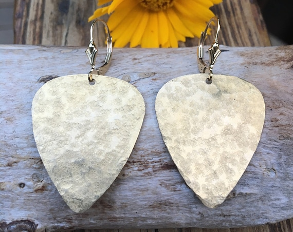 Hammered Large Brass Earrings