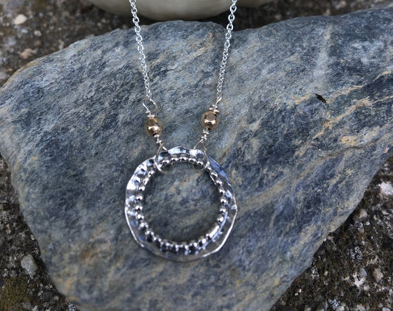 Sterling Silver & Gold Filled Circle Pendant