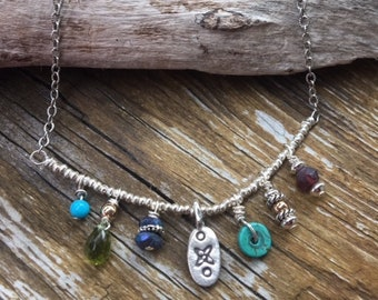 Sterling Silver Turquoise, Garnet, Lapis, Peridot Minimalist Necklace