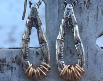 Sterling Silver Gold Wrapped Drop Earrings