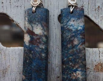 Blue Azurite Sterling Silver Rectangle Earrings