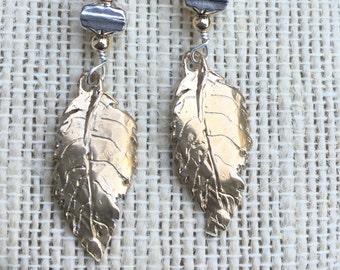 Bronze & sterling silver leaf earrings