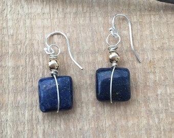 Sterling Lapis Two Tone Earrings, Lapis earrings, Two tone earrings,
