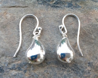Sterling Teardrop Earrings, Round drops, Everyday Simple Earrings
