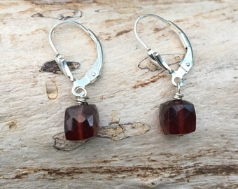 Garnet Cube Sterling Earrings