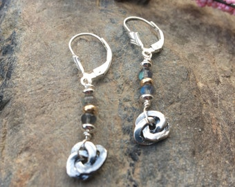 Tiny Labradorite Earrings, Small Sterling Earrings. Love knot earrings, Simple Drop Earrings, Simple Earrings, Leverbacks, Lever back wires