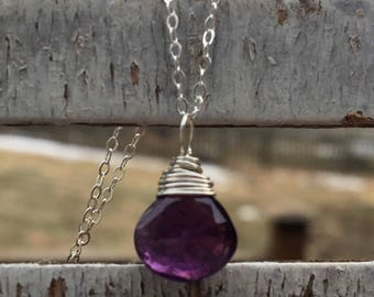Sterling Tear Shaped Amethyst Necklace