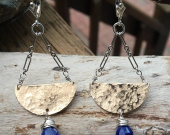 Two Tone Sapphire Chandelier Earrings