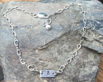 Sterling Initial Bracelet, Adjustable Letter Bracelet, Monogram Bracelet