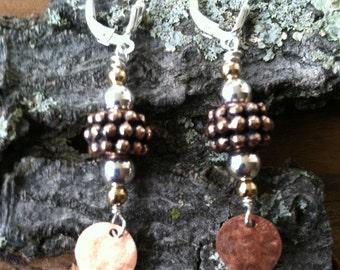 Copper & Sterling Two Tone Earrings