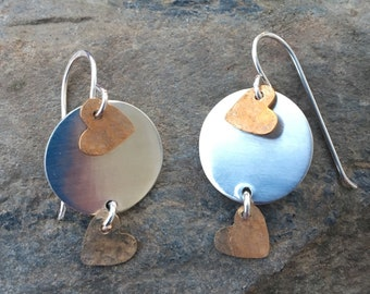 Two Tone Mixed Metal Sterling Heart Earrings