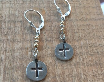Sterling Silver Two Tone Cross Earrings,  Cross Earrings, Cross Jewelry, Silver Cross, Karen Hill Tribe