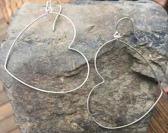 Large Sterling Heart Earrings, Heart Hoops