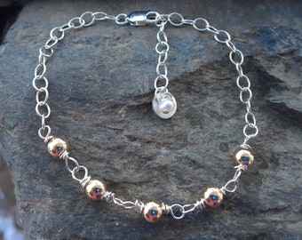 Adjustable Two Tone Sterling Bracelet
