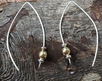 Two Tone Sterling Gold Filled Wire Earrings