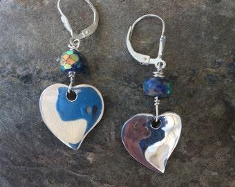 Heart Earrings, Lapis Heart Earrings, Sterling Heart Dangles, Mystic Lapis Earrings, Lapis Jewelry, Sterling Heart Earrings, Blue Earrings