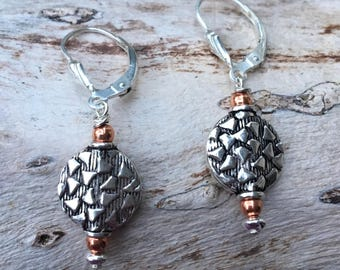 Carved Sterling Silver & Copper Bead Earrings