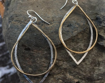 Two Tone Gold Sterling Silver Hammered Earrings