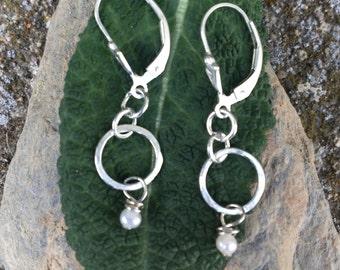 Pearl Dangle earrings, Tiny Pearl Earrings, sterling silver earrings, Bridesmaid gift, Freshwater pearls