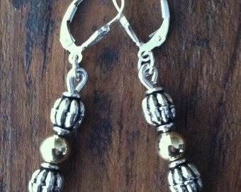 Sterling two tone gold filled mixed metal lever back earrings