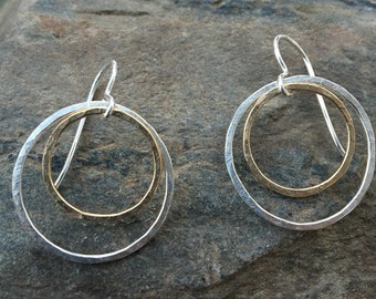Circle Earrings, Two Tone Circle Earrings, Mixed Metal Hoops, Dangle Circle Earrings, Two Tone Earrings, Silver Gold Earrings, Large Circles