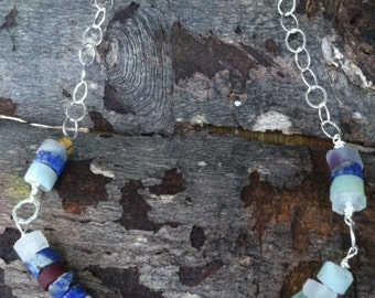 Sterling Gemstone Slices Necklace