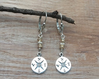 Sterling Silver Compass earrings, Two Tone Compass Earrings, Hiker Earrings, Compass Jewelry