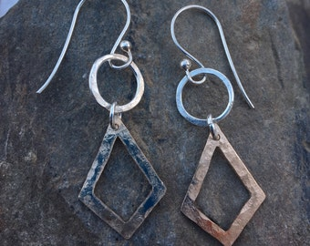 Two Tone sterling Gold Hammered Earrings