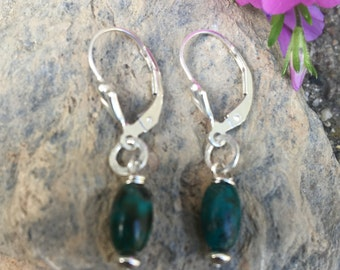 Small Turquoise Earrings, Sterling Turquoise Drops, Tiny Turquoise Dangles