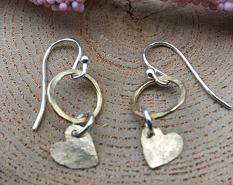 Sterling Silver/Gold Filled Heart Earrings