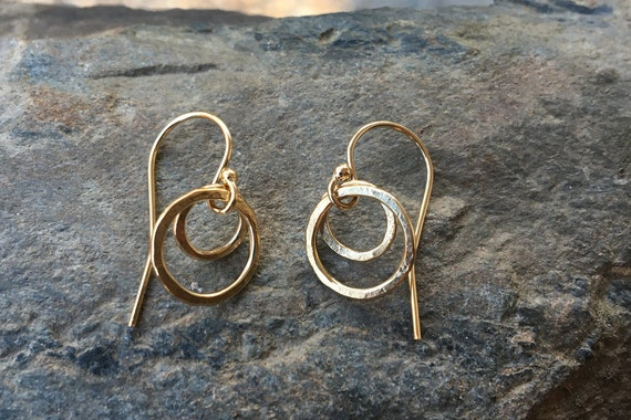 Tiny Gold Earrings, Gold Circle Earrings, Gold Filled Circle Dangles, Small Circle Earrings, Hammered Round Earrings,Dainty, Simple, Simple