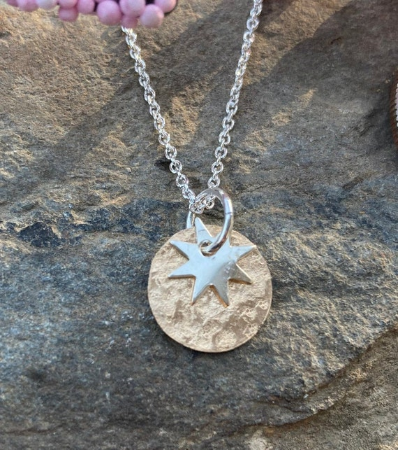 Starburst Two Tone Dainty Necklace