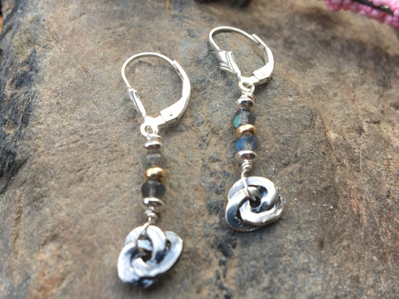 Dainty Sterling Labradorite Earrings