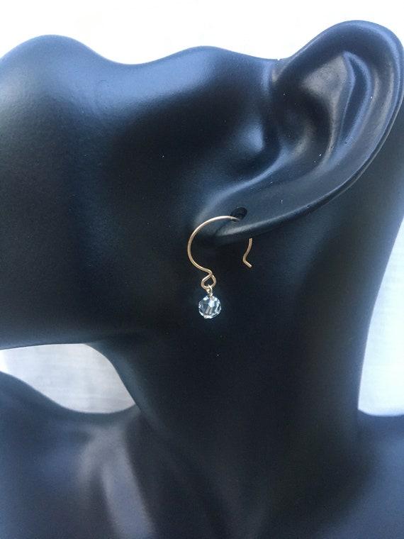 Gold Swarovski Crystal Earrings, Gold Crystal Earrings, Gold Filled Swarovski Dangles