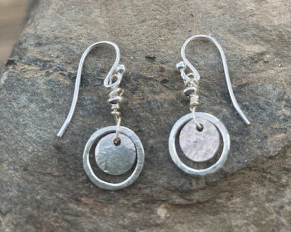 Hammered Sterling Casual Earrings
