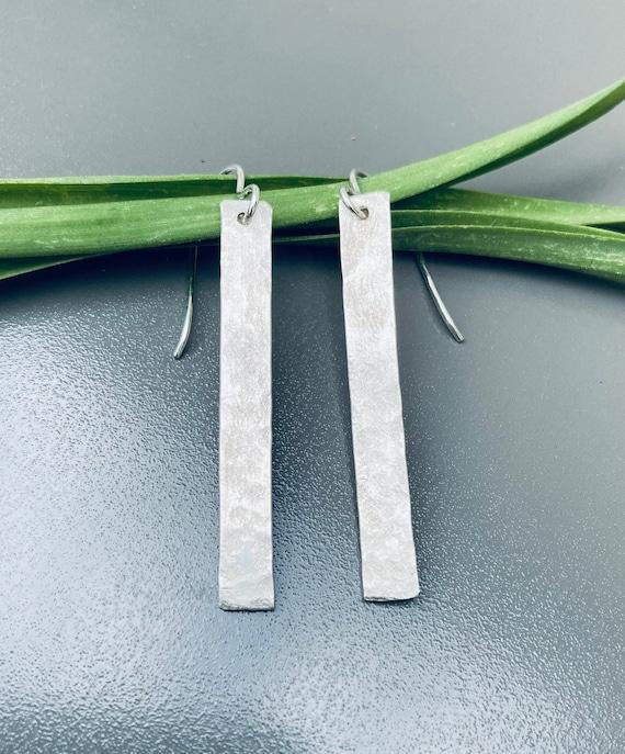 Hammered Sterling Rectangle Earrings