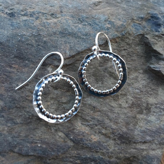 Modern Sterling Circle Earrings