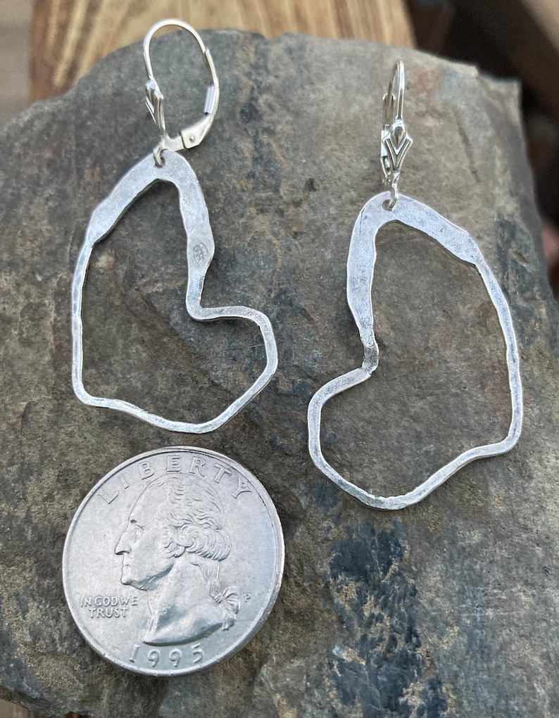Lever back Large Sterling Earrings Hammered Silver Drops Statement Earrings Silver Heart Dangles Leverback