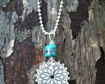 Sterling Pinwheel with Barrel Turquoise Pendant