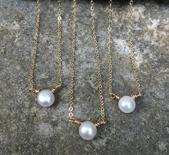 Gold Filled Dainty Pearl Necklace