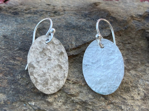 Hammered Sterling Oval Earrings