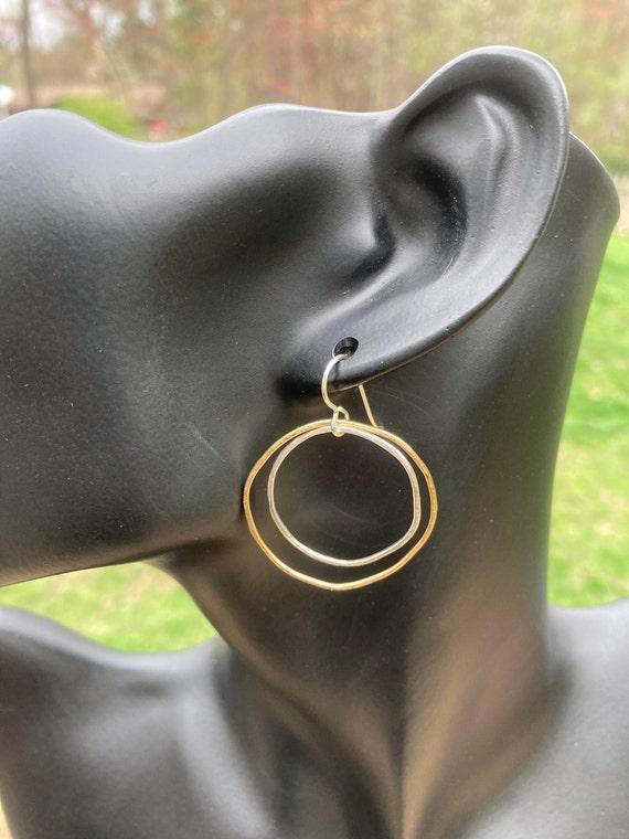 Freeform Sterling & Gold Circle Earrings